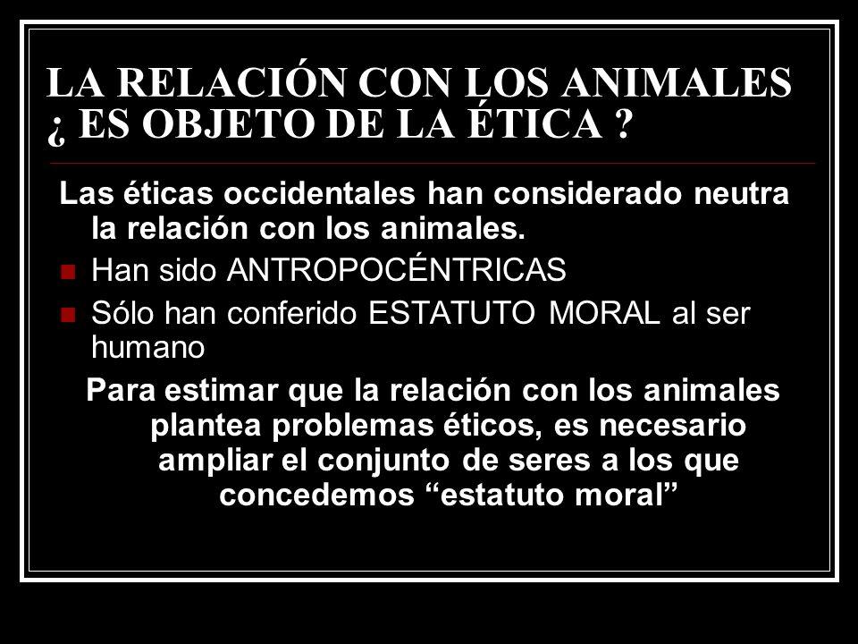 LA RELACIÓN CON LOS ANIMALES ¿ ES OBJETO DE LA ÉTICA
