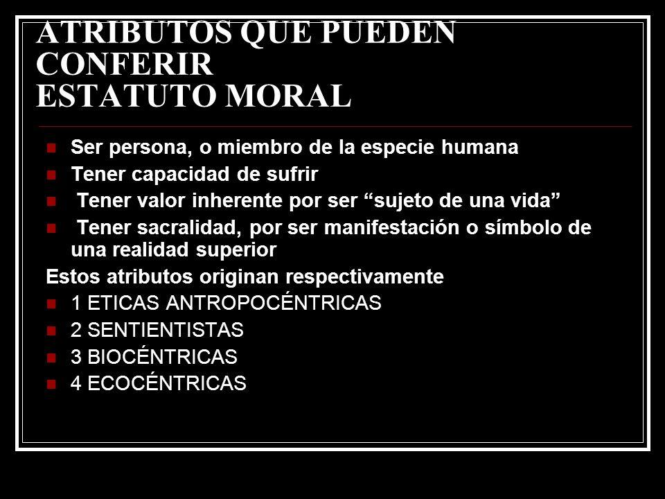 ATRIBUTOS QUE PUEDEN CONFERIR ESTATUTO MORAL