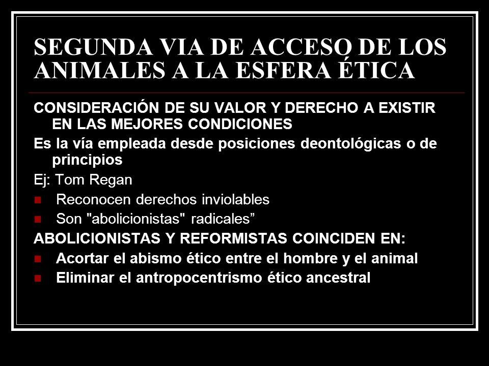 SEGUNDA VIA DE ACCESO DE LOS ANIMALES A LA ESFERA ÉTICA