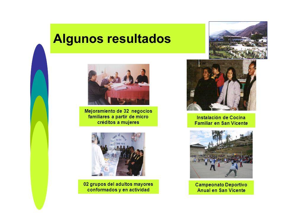 Algunos resultados Mejoramiento de 32 negocios familiares a partir de micro créditos a mujeres. Instalación de Cocina Familiar en San Vicente.