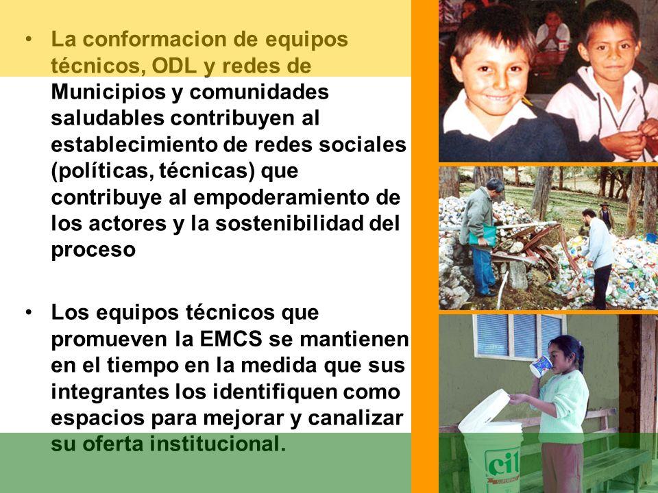 La conformacion de equipos técnicos, ODL y redes de Municipios y comunidades saludables contribuyen al establecimiento de redes sociales (políticas, técnicas) que contribuye al empoderamiento de los actores y la sostenibilidad del proceso
