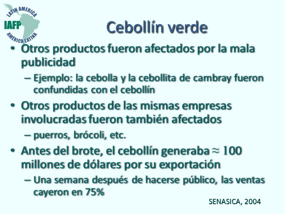 Cebollín verde Otros productos fueron afectados por la mala publicidad