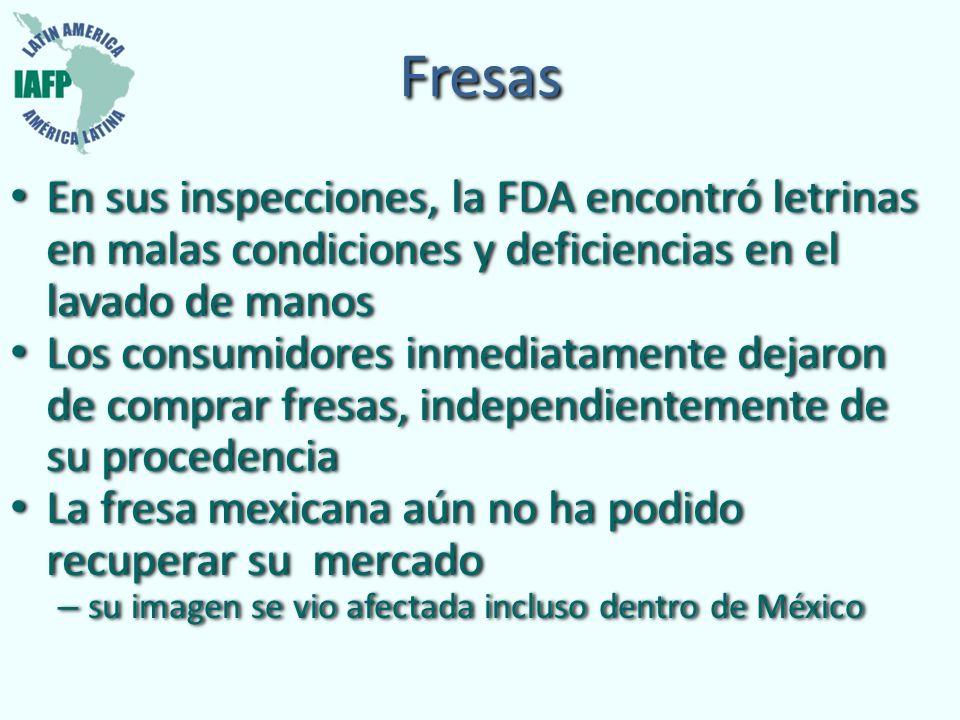 Fresas En sus inspecciones, la FDA encontró letrinas en malas condiciones y deficiencias en el lavado de manos.