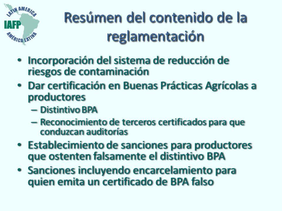 Resúmen del contenido de la reglamentación