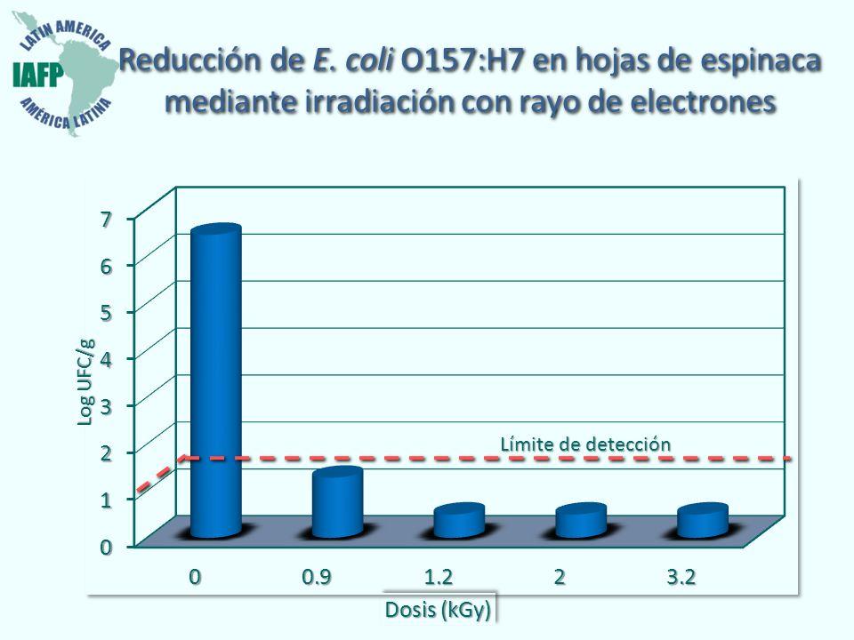 Reducción de E. coli O157:H7 en hojas de espinaca mediante irradiación con rayo de electrones