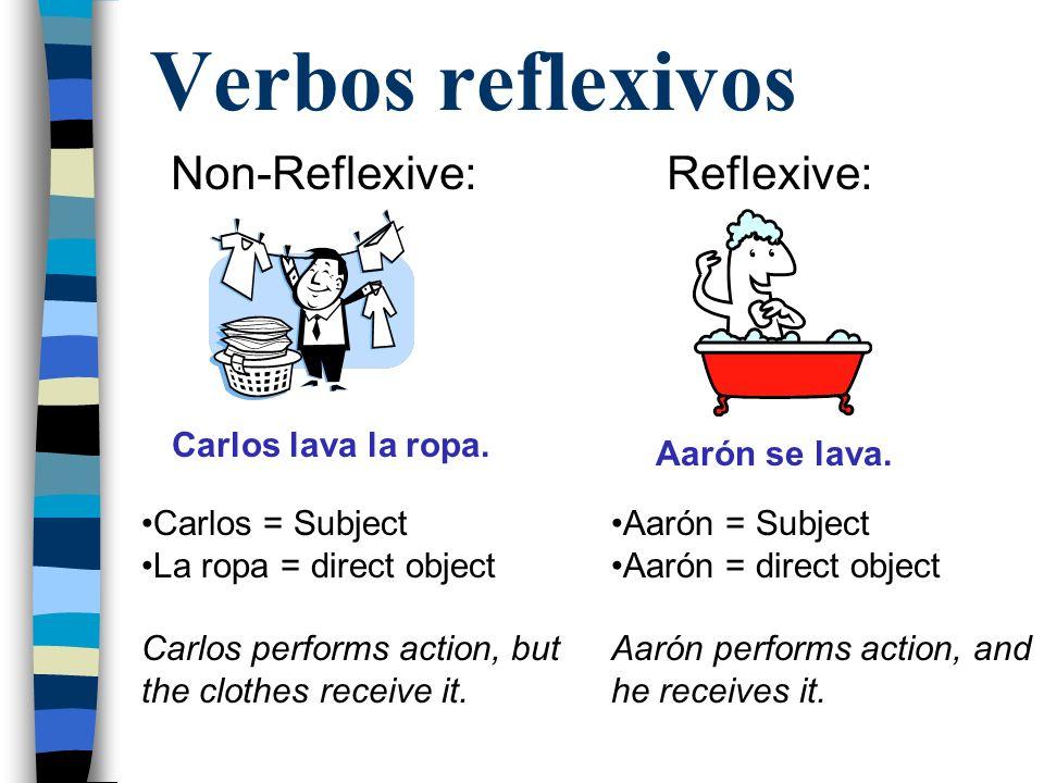 Verbos reflexivos Non-Reflexive: Reflexive: Carlos lava la ropa.