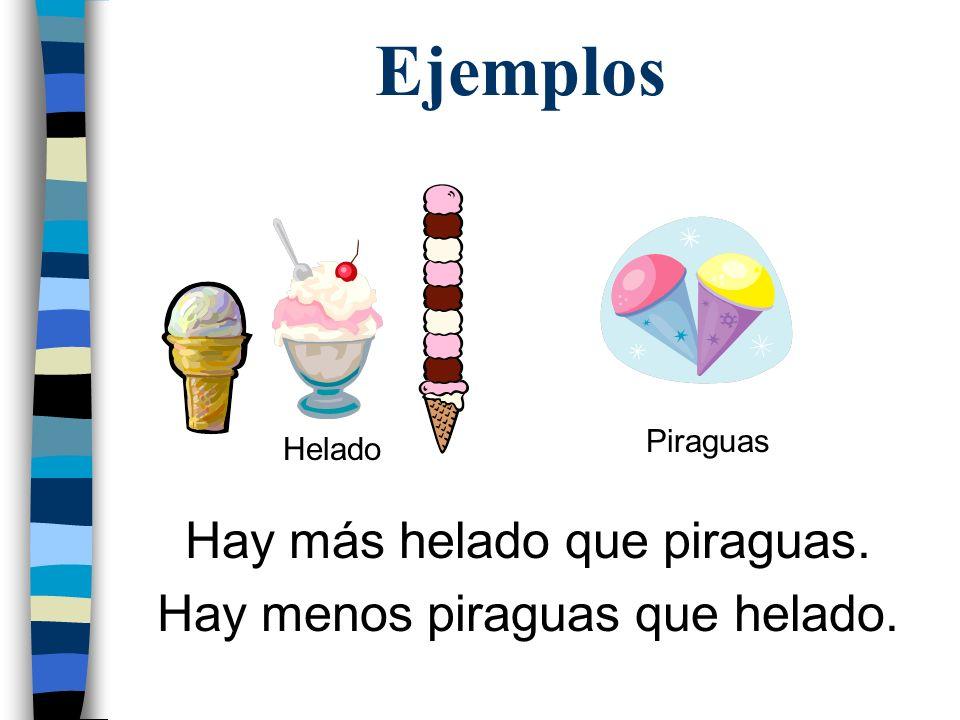 Ejemplos Hay más helado que piraguas. Hay menos piraguas que helado.