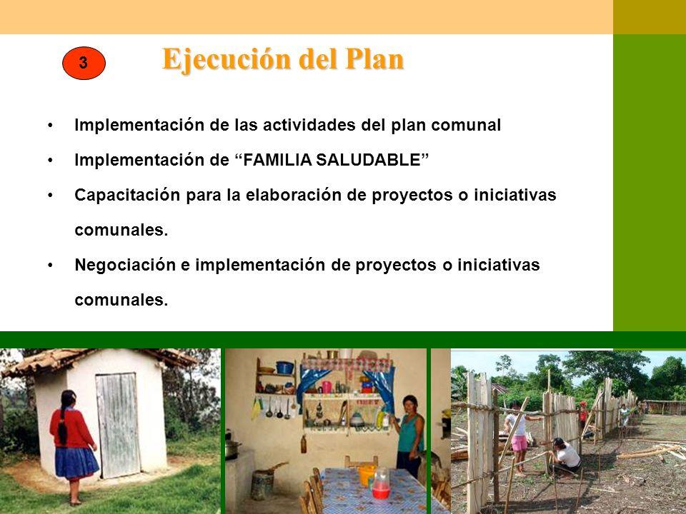 Ejecución del Plan 3. Implementación de las actividades del plan comunal. Implementación de FAMILIA SALUDABLE
