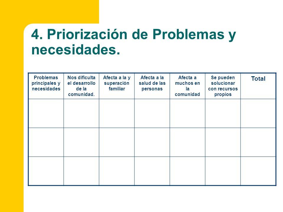 4. Priorización de Problemas y necesidades.