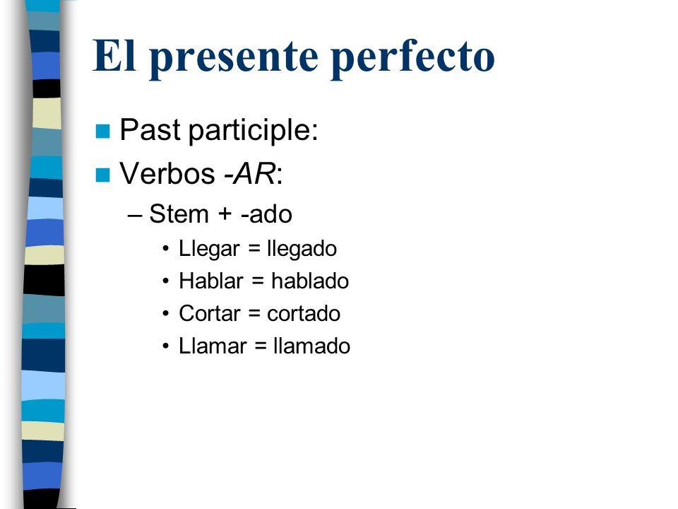 El presente perfecto Past participle: Verbos -AR: Stem + -ado