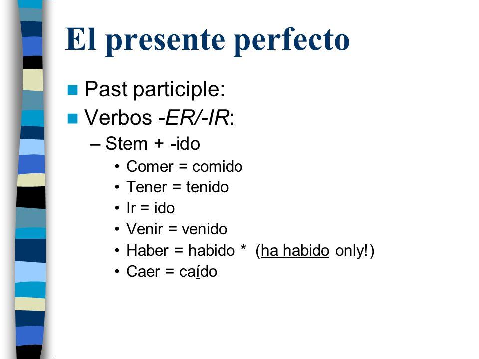 El presente perfecto Past participle: Verbos -ER/-IR: Stem + -ido