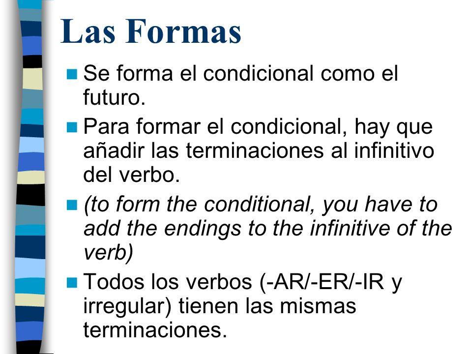 Las Formas Se forma el condicional como el futuro.