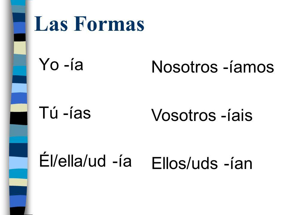 Las Formas Yo -ía Nosotros -íamos Tú -ías Vosotros -íais
