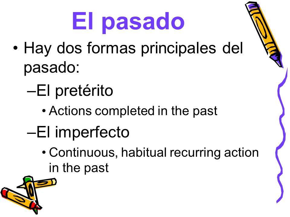 El pasado Hay dos formas principales del pasado: El pretérito