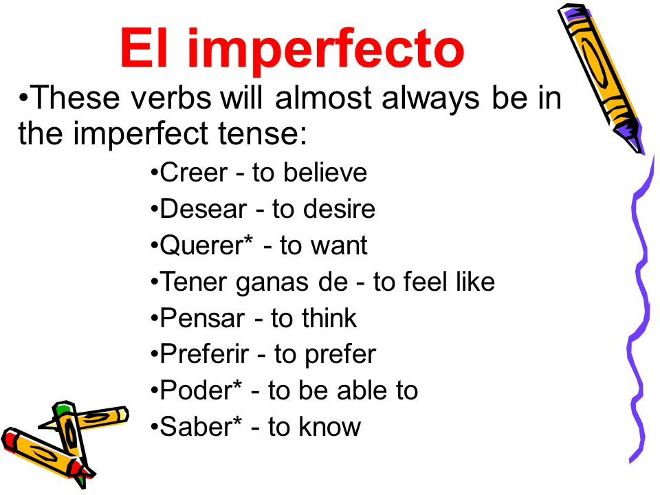El imperfectoThese verbs will almost always be in the imperfect tense: Creer - to believe. Desear - to desire.