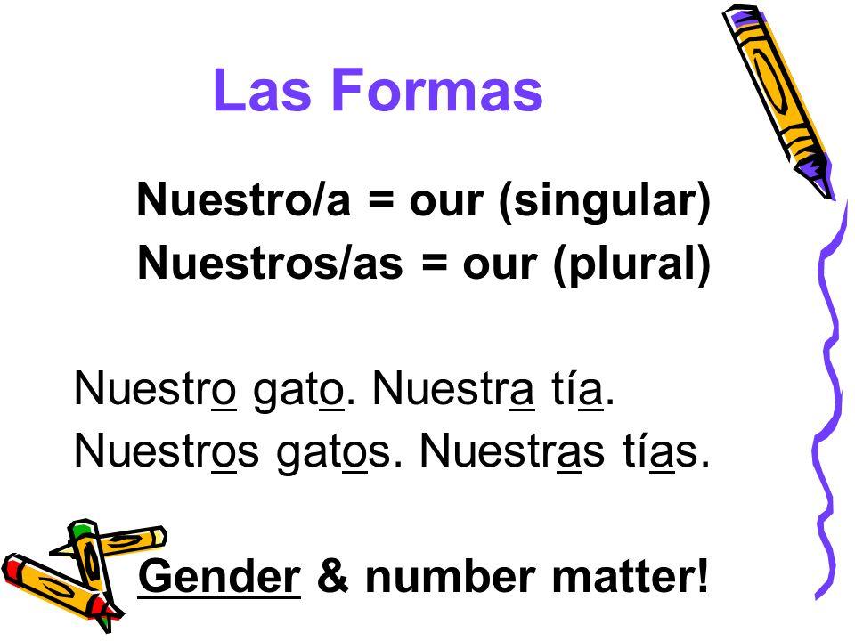 Nuestro/a = our (singular)