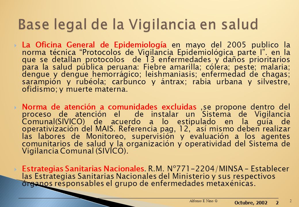 Base legal de la Vigilancia en salud