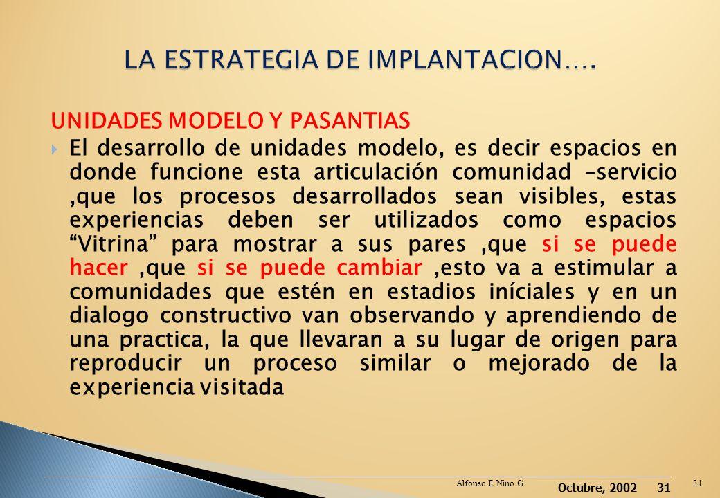 LA ESTRATEGIA DE IMPLANTACION….