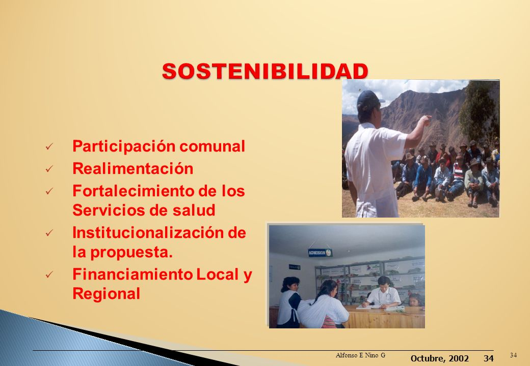 SOSTENIBILIDAD Participación comunal Realimentación