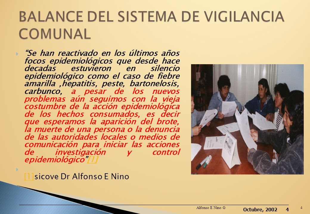 BALANCE DEL SISTEMA DE VIGILANCIA COMUNAL