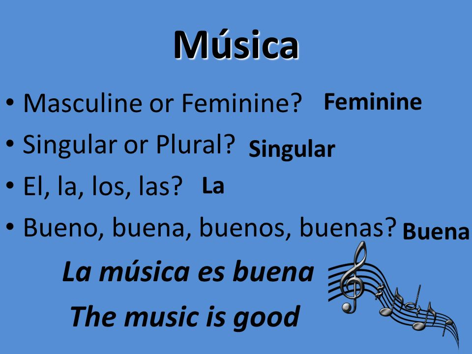 Música La música es buena The music is good Masculine or Feminine
