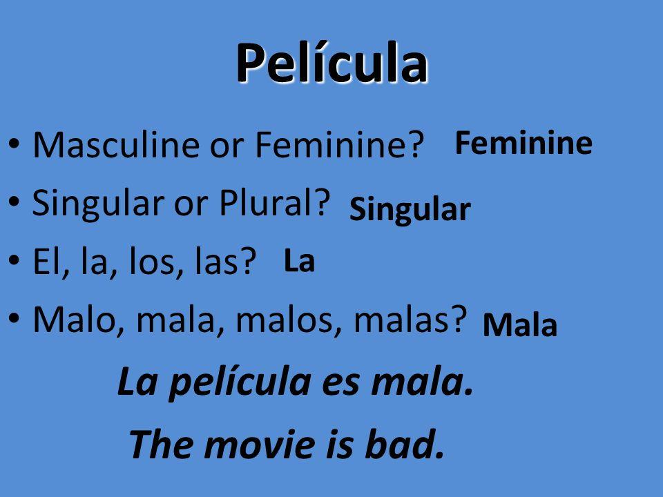 Película La película es mala. The movie is bad. Masculine or Feminine