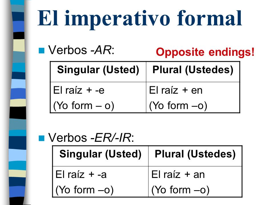 El imperativo formal Verbos -AR: Verbos -ER/-IR: Opposite endings!
