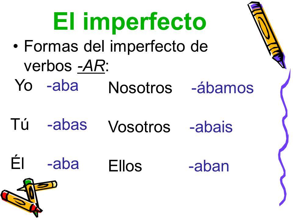 El imperfecto Formas del imperfecto de verbos -AR: Yo -aba