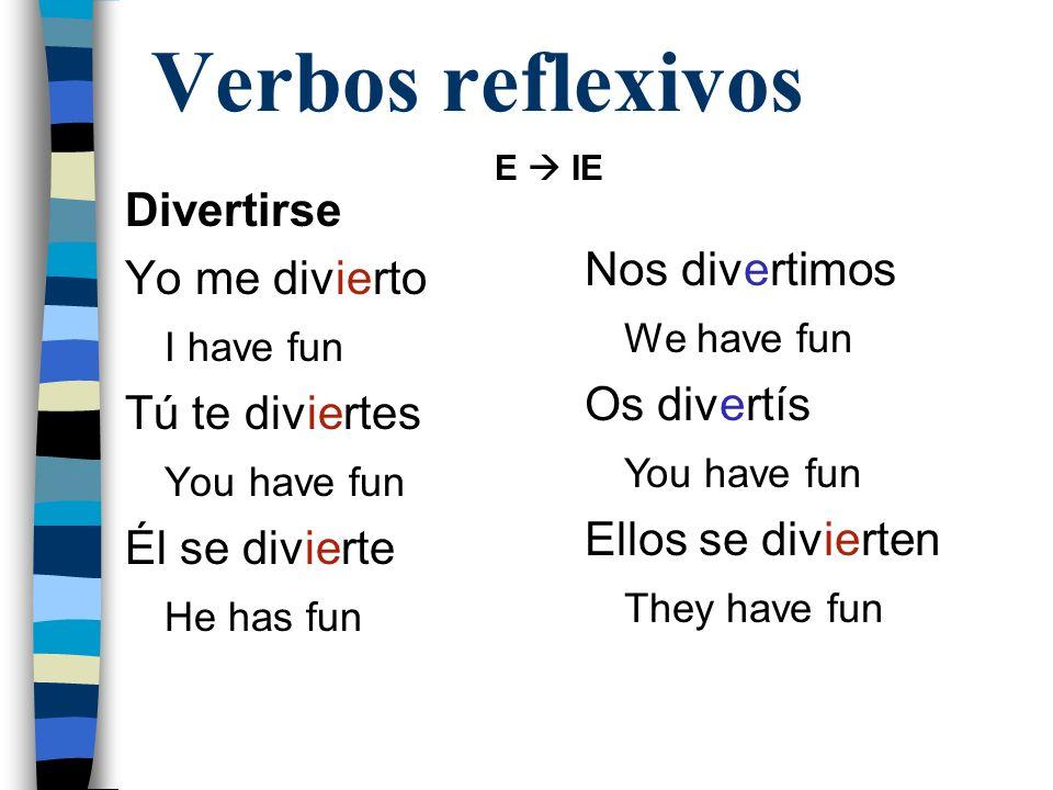 Verbos reflexivos Divertirse Nos divertimos Yo me divierto We have fun