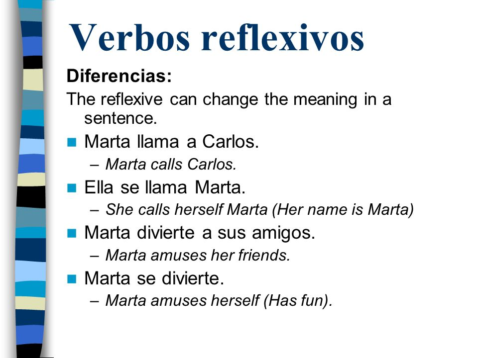Verbos reflexivos Diferencias: Marta llama a Carlos.