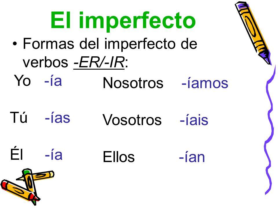 El imperfecto Formas del imperfecto de verbos -ER/-IR: Yo -ía