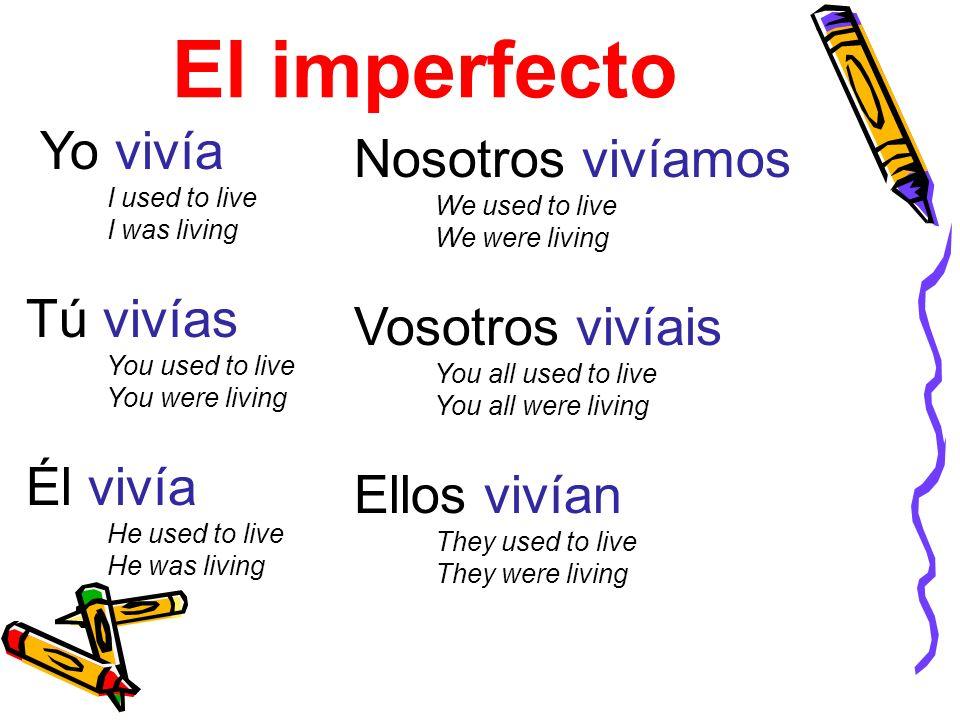 El imperfecto Yo vivía Nosotros vivíamos Tú vivías Vosotros vivíais