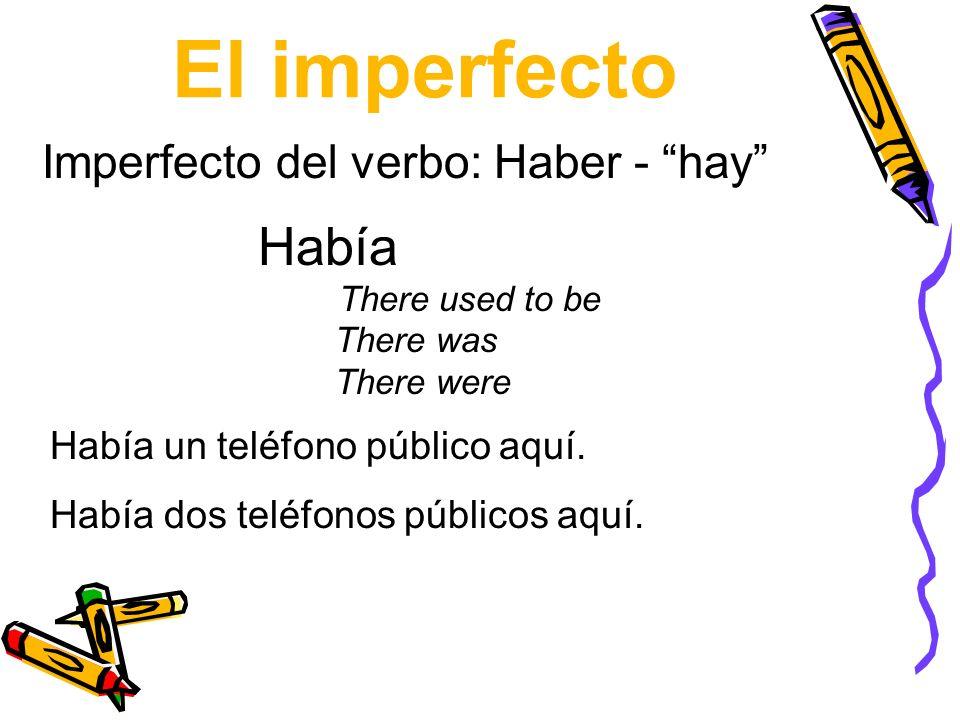 El imperfecto Había Imperfecto del verbo: Haber - hay