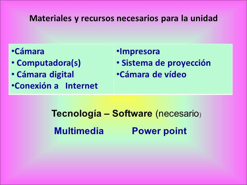 Materiales y recursos necesarios para la unidad
