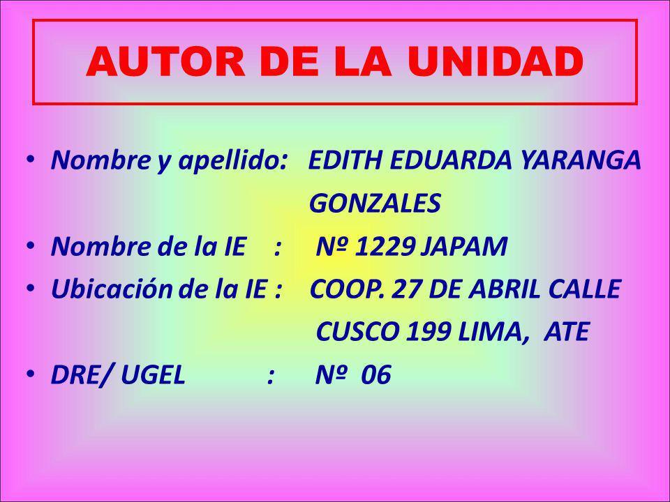 AUTOR DE LA UNIDAD Nombre y apellido: EDITH EDUARDA YARANGA GONZALES