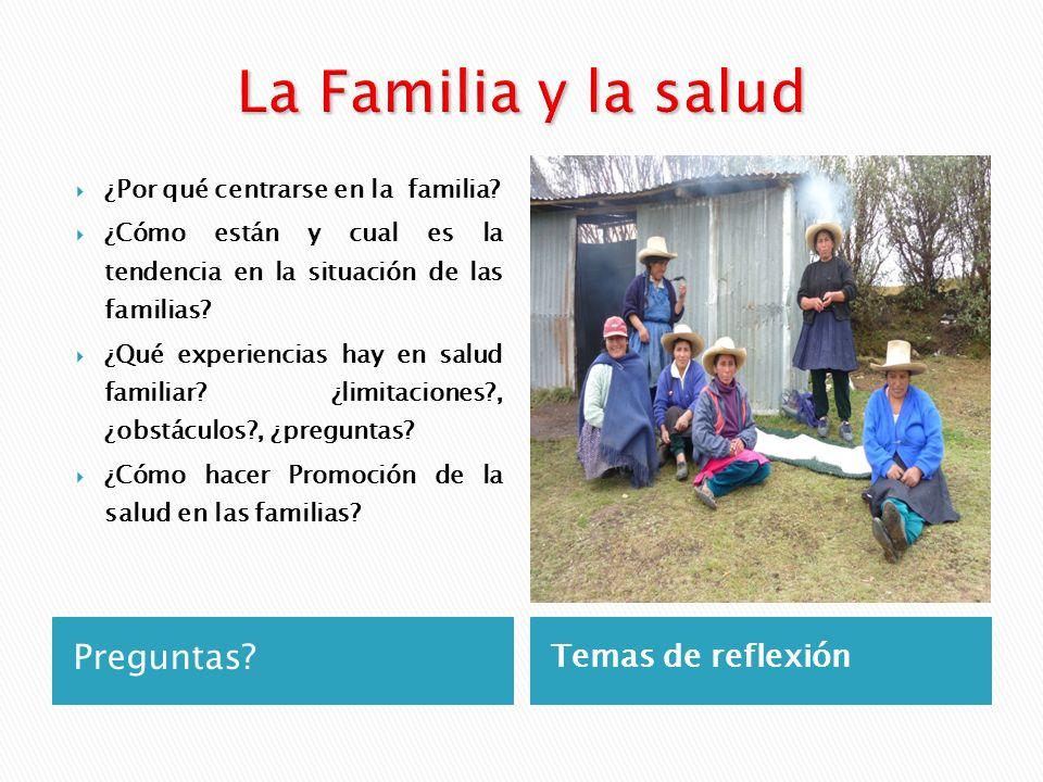 La Familia y la salud Preguntas Temas de reflexión