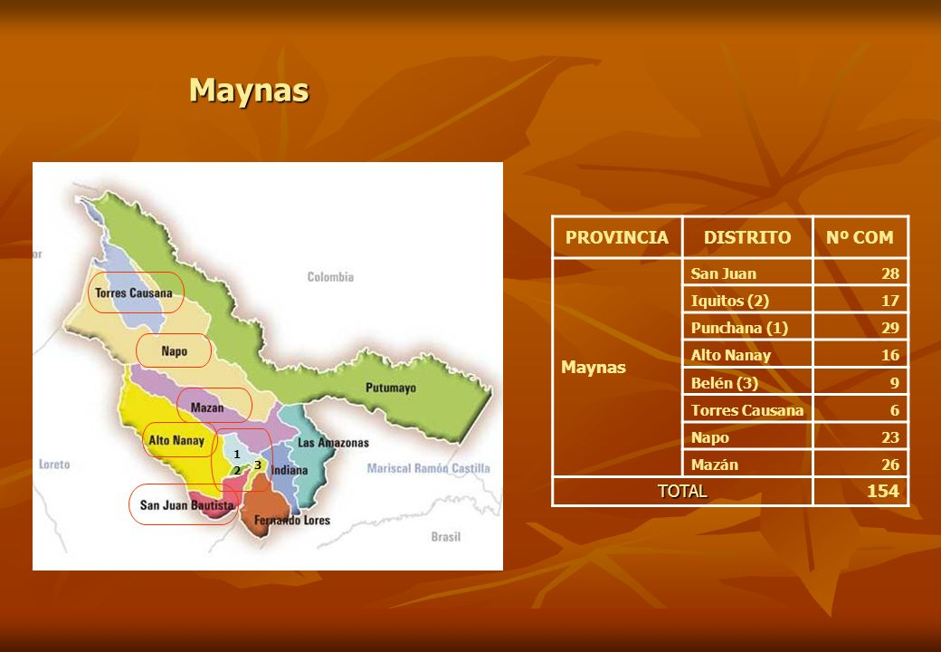 Maynas PROVINCIA DISTRITO Nº COM Maynas TOTAL 154 San Juan 28