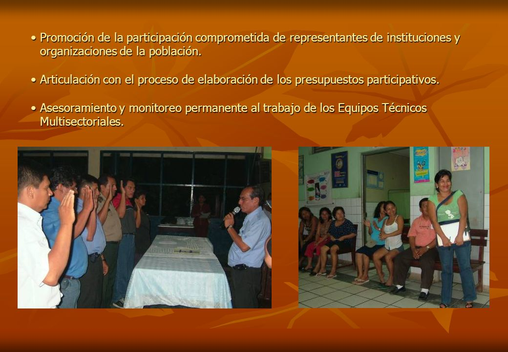 Promoción de la participación comprometida de representantes de instituciones y organizaciones de la población.