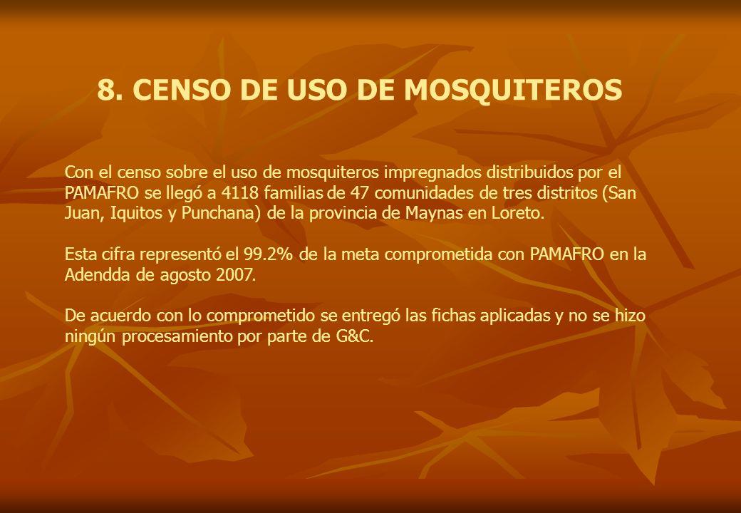 8. CENSO DE USO DE MOSQUITEROS