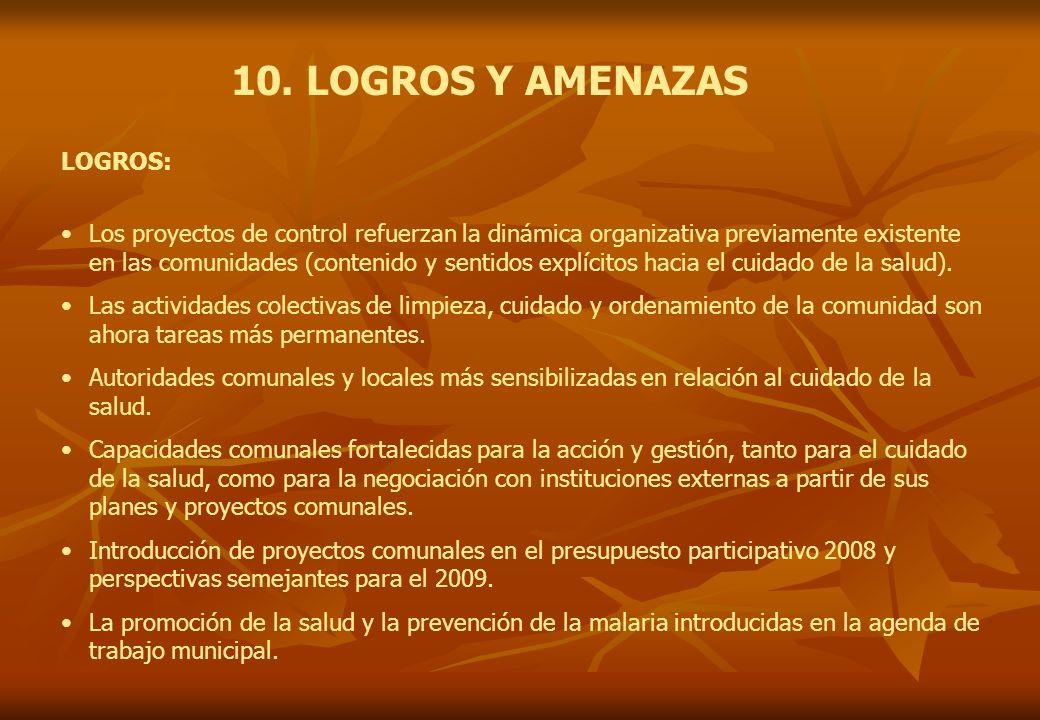 10. LOGROS Y AMENAZAS LOGROS: