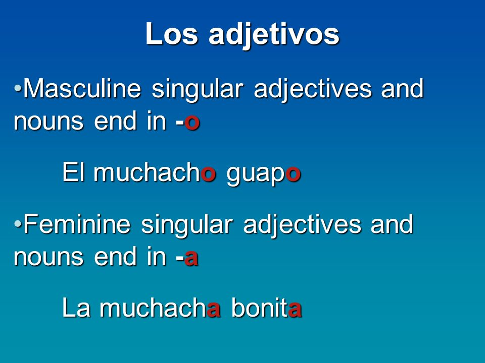 Los adjetivos Masculine singular adjectives and nouns end in -o
