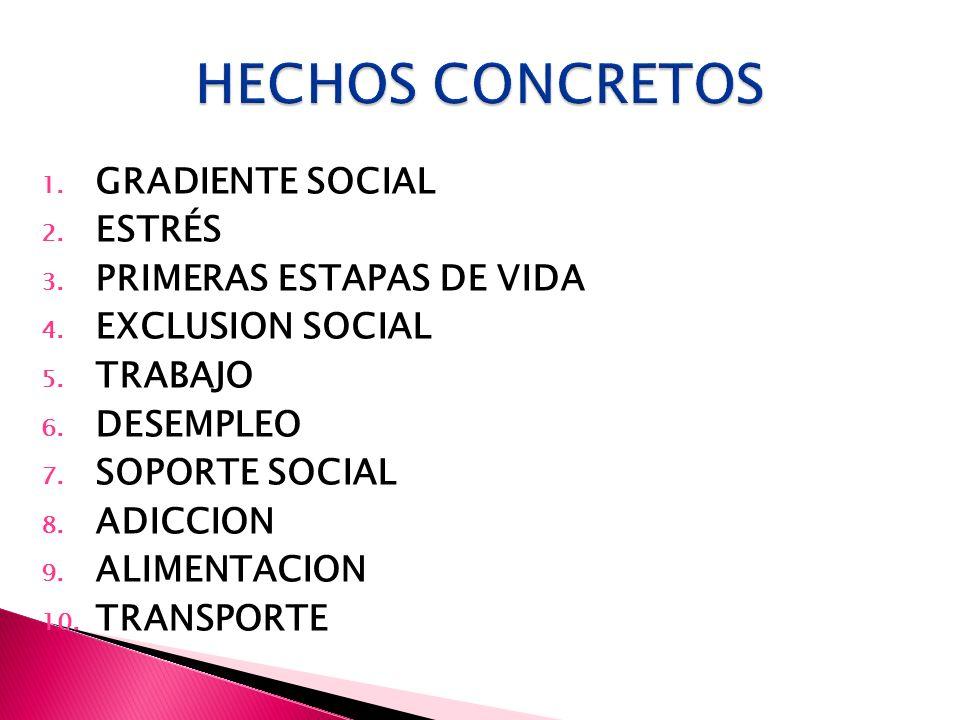 HECHOS CONCRETOS GRADIENTE SOCIAL ESTRÉS PRIMERAS ESTAPAS DE VIDA