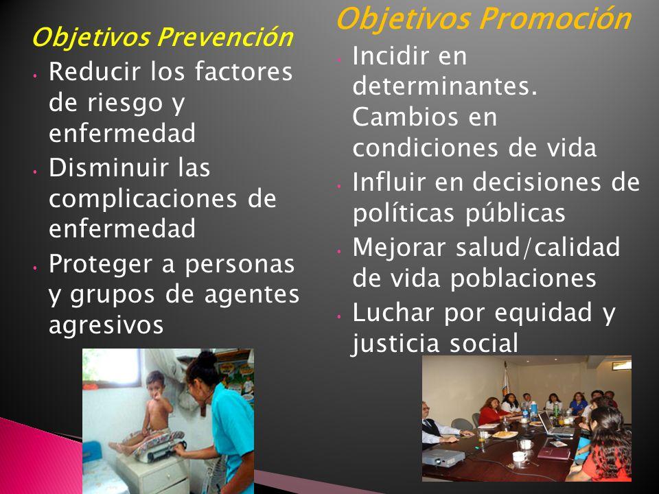 Objetivos Promoción Incidir en determinantes. Cambios en condiciones de vida. Influir en decisiones de políticas públicas.