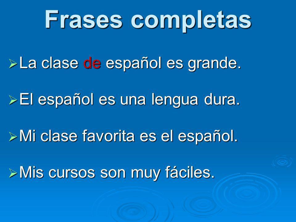 Frases completas La clase de español es grande.