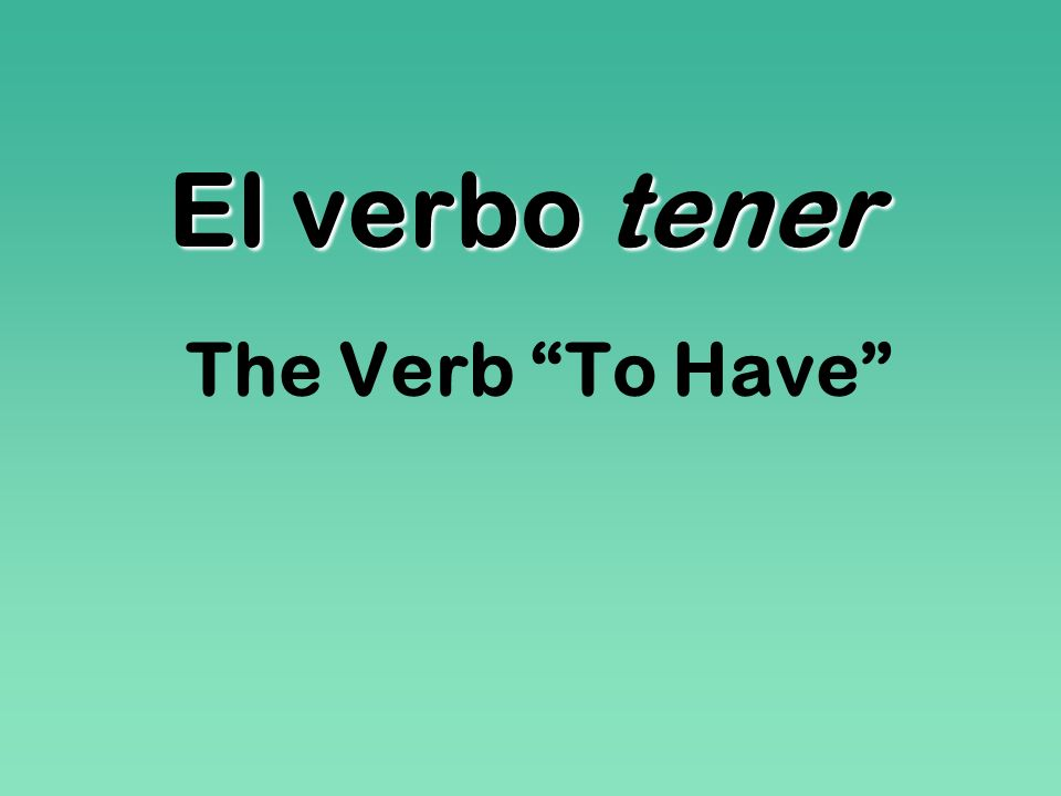 El verbo tener The Verb To Have