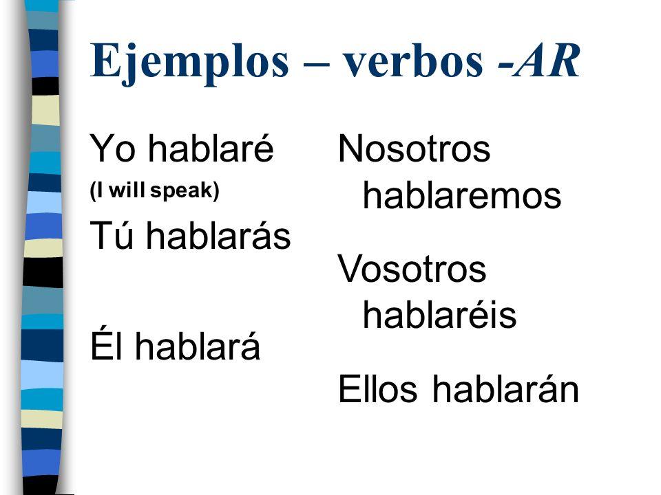 Ejemplos – verbos -AR Yo hablaré Tú hablarás Él hablará