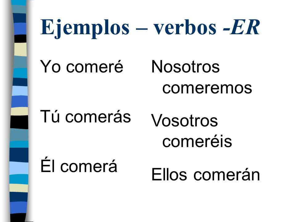 Ejemplos – verbos -ER Yo comeré Tú comerás Él comerá