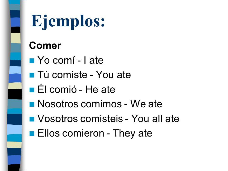 Ejemplos: Comer Yo comí - I ate Tú comiste - You ate Él comió - He ate