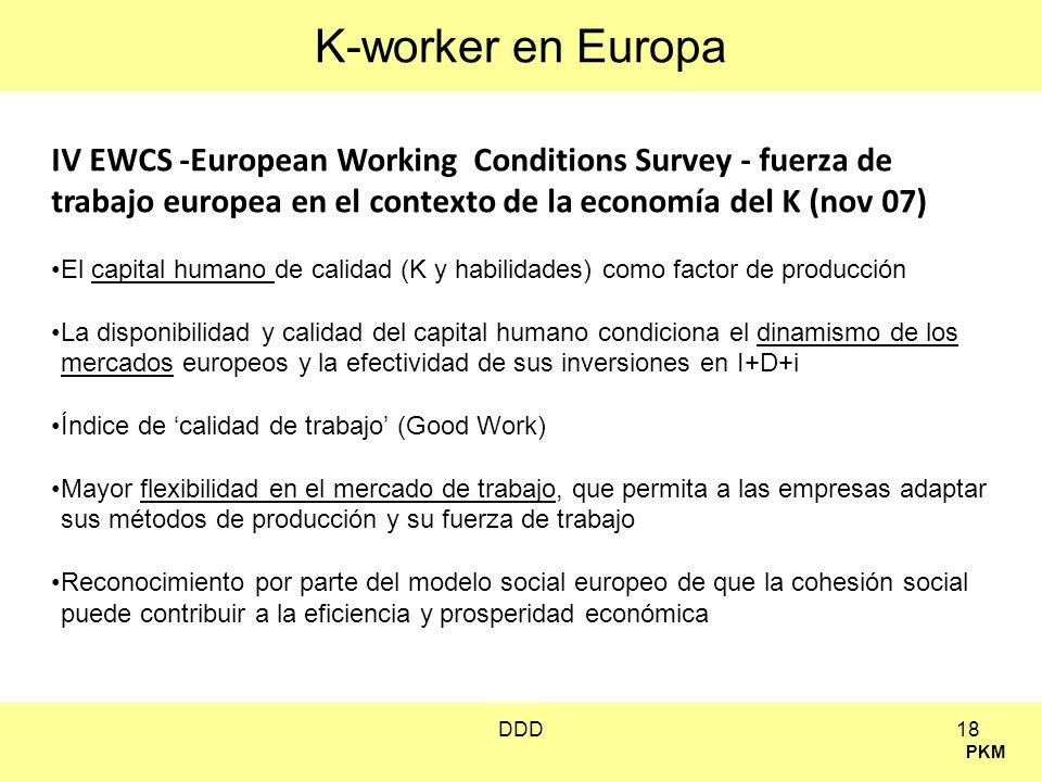 K-worker en EuropaIV EWCS -European Working Conditions Survey - fuerza de trabajo europea en el contexto de la economía del K (nov 07)