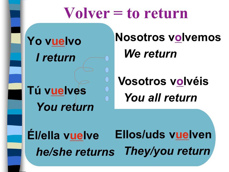 Volver = to return Nosotros volvemos Yo vuelvo We return I return